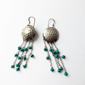 Vintage boho silver & turquoise bead earrings